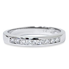 14K White Gold 1/4 cttw Diamond Channel Set Anniversary Ring