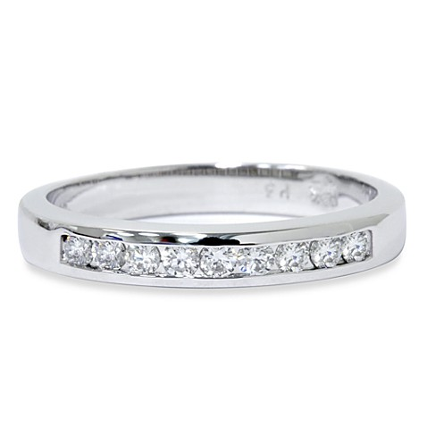 14K White Gold 1/4 cttw Diamond Channel Set Anniversary Size 6 Ring