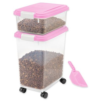 IRIS USA 3-Piece Airtight Pet Food Container Combo in Pink