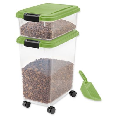 IRIS USA 3-Piece Airtight Pet Food Container Combo in Green