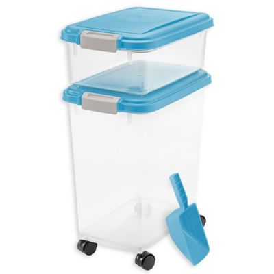 IRIS USA 3-Piece Airtight Pet Food Container Combo in Blue