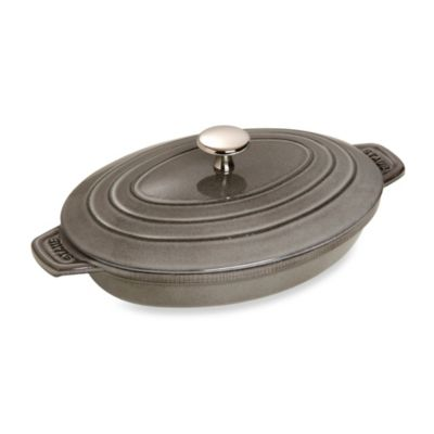 Staub Oval Hot Plate with Lid in Graphite