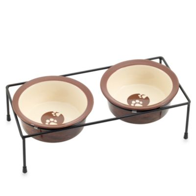 Argento Wood Grain 6-Inch Ceramic Pet Feeder Set
