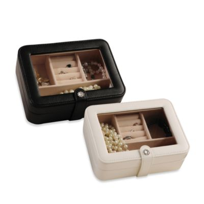 Mele & Co. Rio Faux Leather Glass Top Jewelry Box