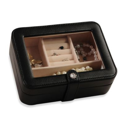 Mele & Co. Rio Faux Leather Glass Top Jewelry Box - Black