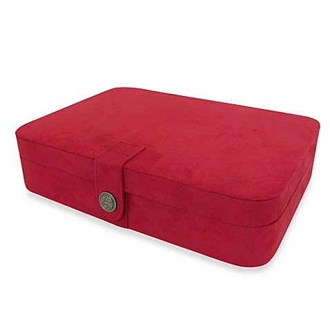 Mele & Co. Maria Plush Fabric Jewelry Box and Ring Case in Red