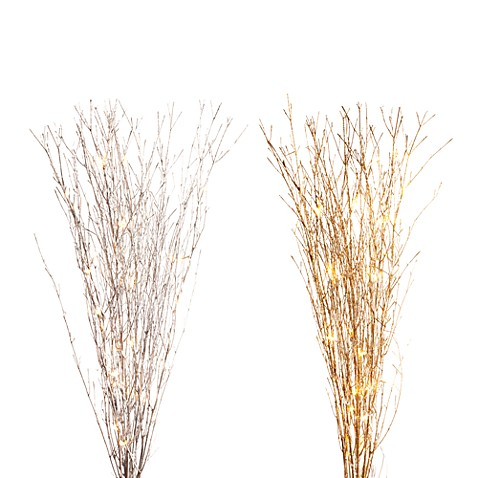 39-Inch Glittered LED Lighted Branches (25-Light Set)
