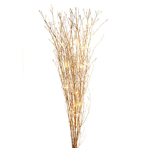 39-Inch Glittered Gold 25 LED Lighted Branches