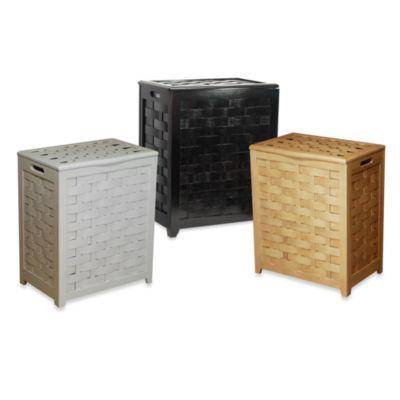 Oceanstar Rectangular Front Veneer Wood Laundry Hamper in Dark Mahogany
