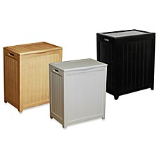 Oceanstar Rectangular Front Wood Laundry Hampers