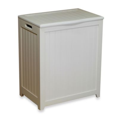 Oceanstar Rectangular Front Wood Laundry Hamper in White