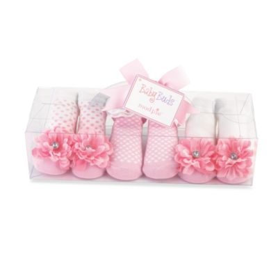 Mud Pie™ Pink Buds Size 0-12 Months 3-Pack Socks
