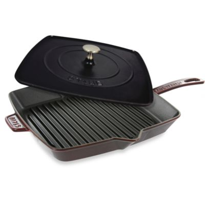 Staub12-Inch Grill Pan and Press Combo in Dark Red