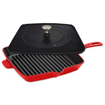 Staub 12-Inch Grill Pan and Press Combo in Cherry