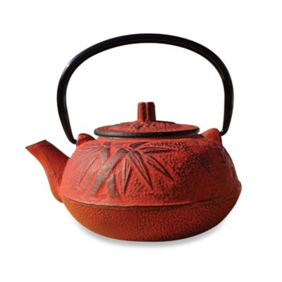 "Tetsubin ""Osaka"" 20 oz. Cast Iron Teapots with Infuser in Red"
