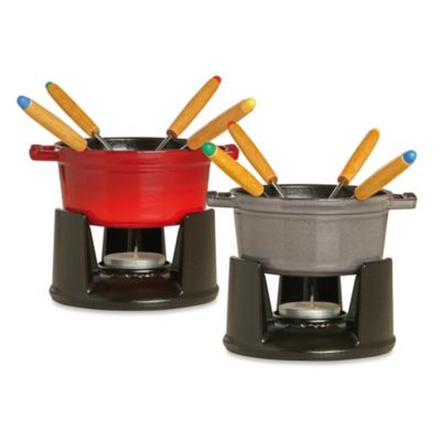Staub 0.25-Quart 7-Piece Mini Chocolate Fondue Set in Cherry
