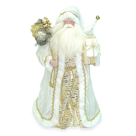 24-Inch Standing Santa with Vintage Robe and Gift Bag