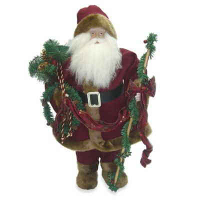 24-Inch Standing Santa with Vintage Red Robe and Staff