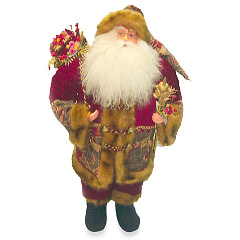 24-Inch Standing Santa with Vintage Burgundy Robe and Staff