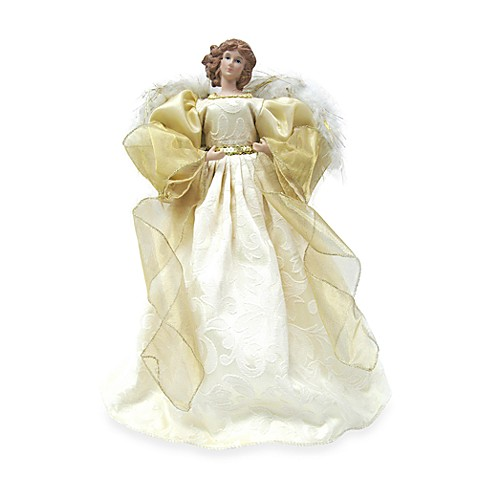 16-Inch Angel Tree Topper with Gold Fabric Gown