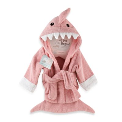 Baby Apsen Let the Fin Begin Shark Bathrobe in Pink