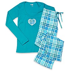 Capelli® Plaid Turquoise 2-Piece Ladies Pajama Set