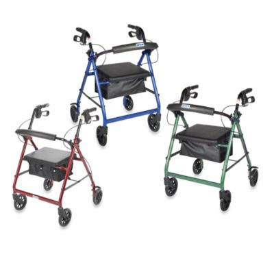 Drive Medical Four-Wheeled Rollator w/6-Inch Wheels in Blue