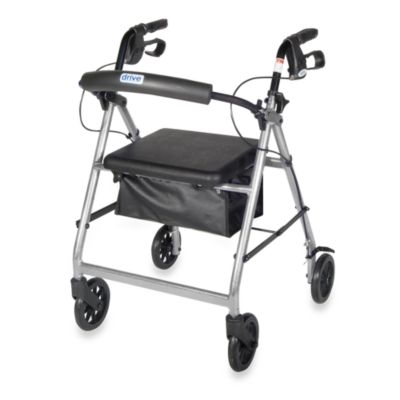 Drive Medical Four-Wheeled Rollator w/6-Inch Wheels in Silver