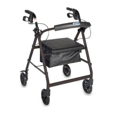 Drive Medical Four-Wheeled Rollator w/6-Inch Wheels
