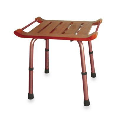 Drive Medical Rectangular Adjustable Height Teak Bath Stool