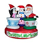 Airblown® 6-Foot Animated Tea Cup Santa, Snowman and Penguin