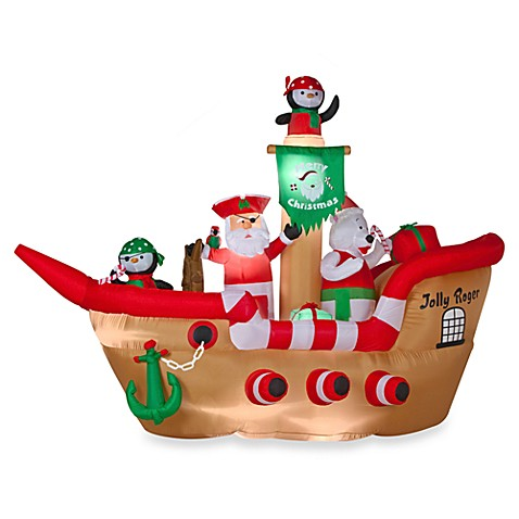 Airblown® Inflatable Outdoor 6.5-Foot Deluxe Christmas Pirate Ship Scene