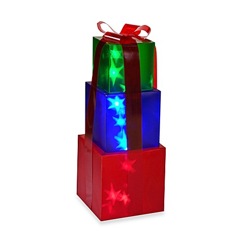 Starry Night 30-Inch Lighted Green, Blue and Red Stacked Gift Boxes