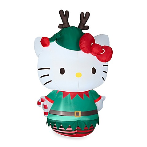 Airblown® Inflatable Outdoor 5.5-Foot Hello Kitty Dressed as an Elf