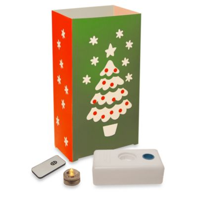 Remote Controlled 10-Count LED Christmas Tree Luminaria Kit