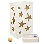 Battery Operated Gold Stars LED Luminaria Kit - 12 Count