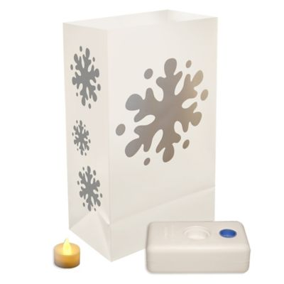 Battery Operated Snowflake LED Luminaria Kit - 12 Count