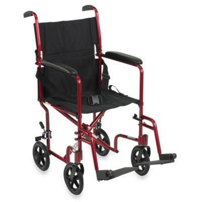 Drive Medical 17-Inch Red Aluminum Transport Wheelchair