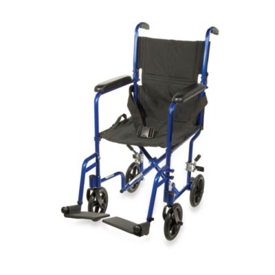 Drive Medical 17-Inch Blue Aluminum Transport Wheelchair