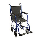 Drive Medical 19-Inch Blue Aluminum Transport Wheelchair