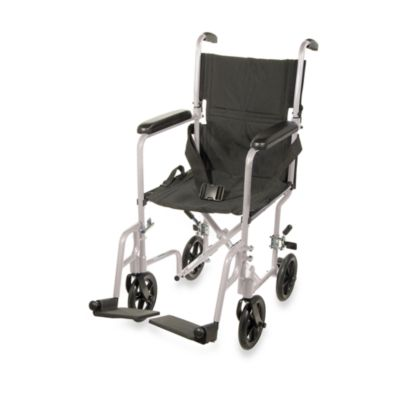 Drive Medical Aluminum Lightweight 17-Inch Transport Chair in Silver