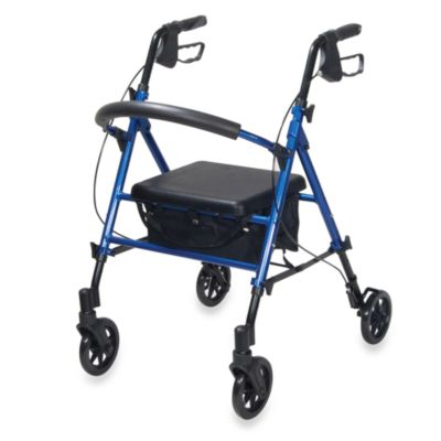 Drive Medical Universal Adjustable Height Rollator w/6-Inch Wheels in Blue
