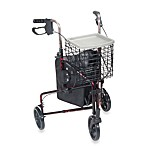 Drive Medical Three-Wheeled Rollator with Basket and 8-Inch Wheels in Red