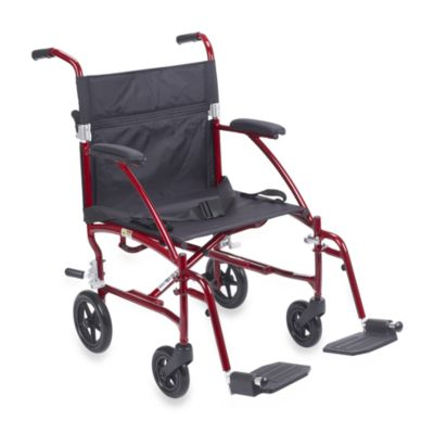 Drive Medical Fly-Lite Aluminum Transport Chair in Red