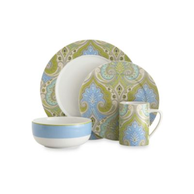 Echodesign Lakita Seafoam 4-Piece Porcelain Dinnerware Set