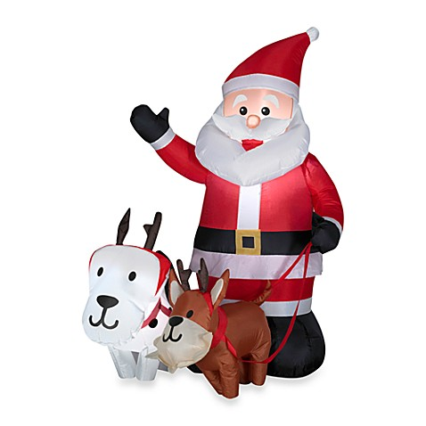 Airblown® Inflatable Outdoor 4.5-Foot Santa's Sleigh Dogs Scene