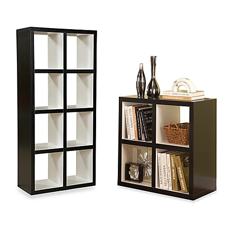 Hollow Core Collection Bookcase in Black Frame/White Interior