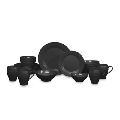 Swirl Black 20-Piece Dinnerware Set
