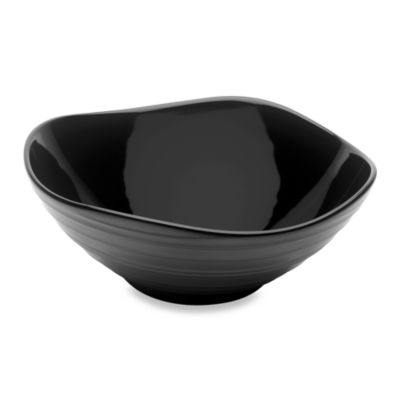 Swirl Black 9-Inch Square Vegetable Bowl