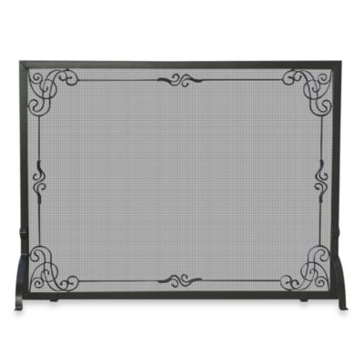 Uniflame Black Wrought Iron Fireplace Screen